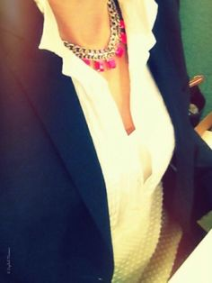 An English Mamma in Stockholm: what i wore wednesday style outfit j crew shirt neon necklace navy blazer