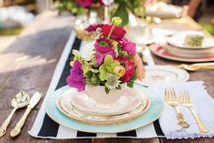 Beautiful floral & striped place setting