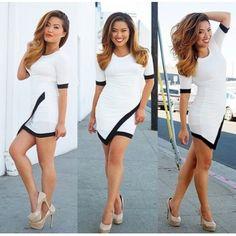 GBP8.15Cheap Fashion O Neck Short Sleeves Patchwork Asymmetrical White A Line Mini Dress