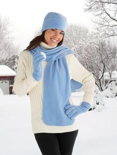 """Take along your love of the outdoors wherever you go with high-fashion accessories. Blue polyester set is super-soft and hand washable. Includes hat, gloves and an extra-long scarf for added warmth. Imported. Hat, 10""""Dia.; scarf, 68""""L x 10""""W."""