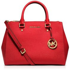 Michael Michael Kors Satchel - Sutton Medium (21,635 INR) ❤ liked on Polyvore featuring bags, handbags, michael kors, red satchel purse, michael michael kors, saffiano leather bag, saffiano leather handbag and red handbags