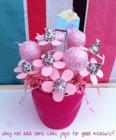 Use different color/flavor combos you can use to create a bouquet -showers, birthdays, get well, etc. Use a flower punch on cardstock, Use floral wire to punch hole in center - add kiss to top - secure with double stick tape - add a few cake pops