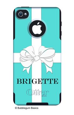 OTTERBOX COMMUTER iPhone 4/4S Case Custom Aqua Blue Gift Box White Ribbon Name Personalized Monogram - Free Matching Wallpaper. $55.00, via Etsy.