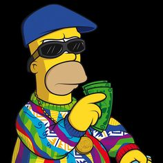 """""""The Simpsons"""" Characters Illustrated in Street Wear & As Famous Rap Stars by Mattia Lettieri Homer Simpson, The Simpsons, Image Simpson, Halloween Wallpaper Cute, Badass Drawings, Simpsons Drawings, Simpsons Characters, Illustrator, Rapper Art"""