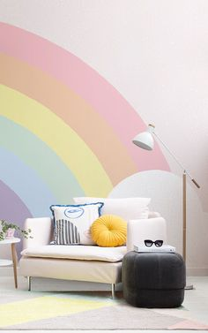 The garland wall mural will have you over the rainbow with your cheerful new interiors. The huge rainbow in this wall design emerges from the edge of Kids Bedroom Designs, Kids Room Design, Kids Bedroom Paint, Girls Bedroom Mural, Rainbow Bedroom, Rainbow Girls Rooms, Room Wall Painting, Rainbow Wallpaper, Paint Designs