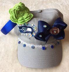 New Women's/Girls NFL SEATTLE SEAHAWKS 12th Man Handmade Headband & Hat Lot…