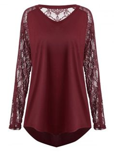 31036066183c1 Plus Size Sheer Lace Sleeve Asymmetric T-Shirt Women Hollow Out Lace Solid  Ladies Tops Womens Clothing Large Size