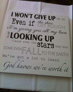 Jason Mraz, I won't give up, Song Lyrics on canvas, anniversary, first dance, music gifts
