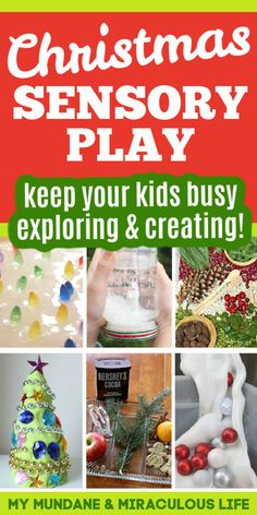 I'm convinced that one of the reasons we all cherish Christmas is how the season just delights our senses! Let your children explore and create their own holiday memories with these awesome Christmas sensory play ideas from My Mundane and Miraculous Life. These ideas are great! #sensory #Christmas #playtime #kids #fun #ideas #parenting