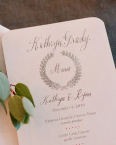 calligraphy name serves as place card and menu