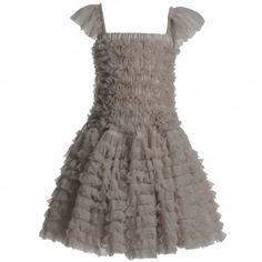 Grey-Beige Chiffon Frill Dress