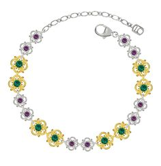 Lucia Costin Silver, Green, Violet Crystal Bracelet with Lovely Flowers. Delightfully sweet bracelet by Lucia Costin. Length: Adjustable anywhere between 6.38 and 7.95 inches (between 16.2 and 20.2 cm); Width: 0.31 in = 0.8 cm. Enhanced with emerald - green and purple Swarovski crystals. 925 Sterling Silver. Produced delicately by hand, made in USA.