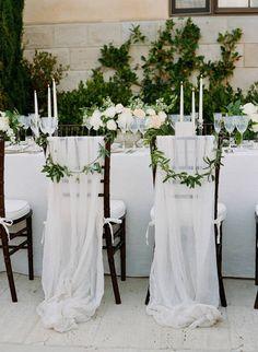 70 pure white wedding decor ideas for romantic wedding 12 Wedding Chair Decorations, Wedding Chairs, Wedding Chair Sashes, Wedding Linens, Wedding Tables, Reception Table, Dinner Table, Wedding Centerpieces, Luxury Wedding