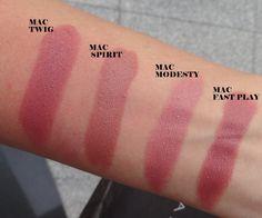 Mac Lipstick Swatches: Twig, Spirit, Modesty, Fast Play I love this Mac Lipstick Shades, Mac Lipstick Swatches, Plum Lipstick, Makeup Swatches, Lipstick Colors, Lip Colors, Mac Lipsticks, Lipstick Stains, Mac Twig Lipstick