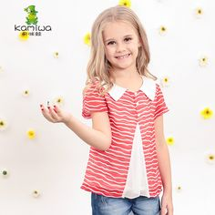 KAMIWA 2016 Summer Chiffon Striped Teenage Girls T-shirts Short Sleeve Tees O-neck Shirts Children's Day Clothing Kids Clothes