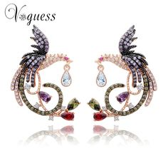 VOGUESS Unique Design Luxury Rose Gold Plated Multi Cz Micro Pave Setting Phoenix Bird Stud Earrings For Women with Jewelry Box