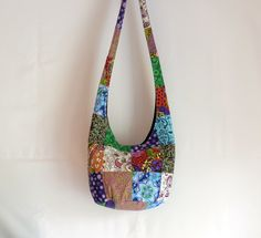 Patchwork Hobo Bag Sling Bag Flowers Paisley Dots by 2LeftHandz, $30.00