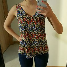 Triangle Geometric print Blue green red tanktop Perfect condition. Silky smooth. Great top just to thrpw on with a pair of jeans Charlotte Russe Tops Tank Tops