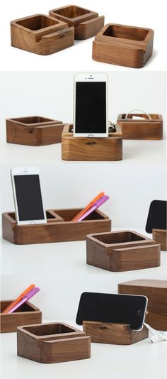 Bamboo Wooden iPhone iPad Smart Phone Holder Dock Mount Business Card Display Stand Holder Pen Pencil Holder Stand Memo Holder Paper Clip Holder Collection Office Desk Supplies Stationary Organizer