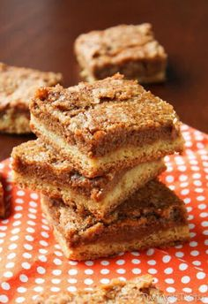 Pumpkin dessert bars with cinnamon crunch topping.