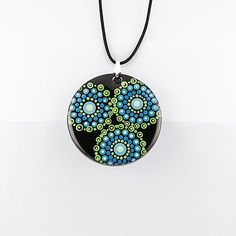 blues and greens abstract hand-painted acrylic & resin pendant