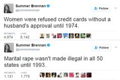 Summer Brennan on twitter - feminism - herstory - feminist facts - women's history - oppression - sexism - patriarchy