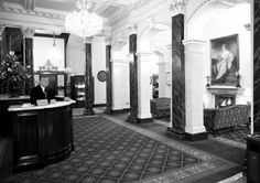 The old hotel lobby Shelbourne Hotel Shelbourne Hotel, Brick Facade, Dublin City, Hotel Lobby, Back In The Day, Old Photos, Over The Years, Ireland, Old Things