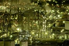 Bouncing Red Ball has an incredible collection of night time factory photographs. The the right light, there is intense beauty in these industrial monsters. Chemical Plant, Old Factory, Night City, City Lights, Things That Bounce, City Photo, Christmas Tree, The Incredibles, Holiday Decor