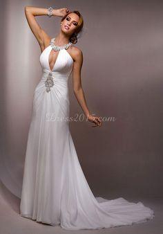 attractive Halter Sheath/Column Ruching Court Train Empire Wedding Dress - Dress2015.com