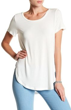 Tunic Tee by Halogen on French Capsule Wardrobe, Kendall Jenner Style, Spandex Material, Tees, Shirts, Womens Fashion, Fashion Trends, Short Sleeves, Tunic