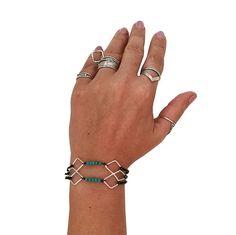 Turquoise silver bracelet,boho style bracelet with turquoise howlite beads , geometric design,bohemian style Blue Beads, Turquoise Beads, Bohemian Style Jewelry, Bracelet Designs, Give It To Me, Bracelets, Silver, Athens, Bracelet