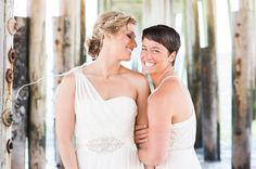 David's Bridal brides Caroline and Elke