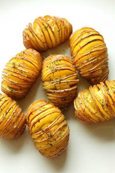 thyme garlic hasselback potatoes
