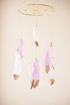 Dreamcatcher Mobile Baby Girl Mobile Lavender by BlueDreamcatcher