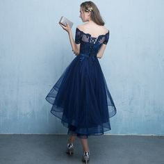 Dark blue lace tulle short prom dress, high low evening dress · Little Cute · Online Store Powered by Storenvy Short Prom Dresses Uk, High Low Evening Dresses, Lace Homecoming Dresses, Tulle Prom Dress, Prom Party Dresses, Dresses For Teens, Evening Gowns, Nice Dresses, Lace Dress