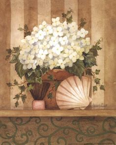 http://www.bandagedear.com/image/view/hydrangea-and-shell-by-annie-lapoint-614313   servilletas   Pinterest   Hydrangeas and Shells