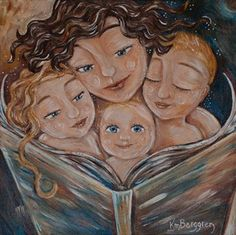 Love Ever After - mother reads to 3 children print by Katie m. Berggren