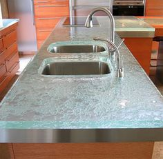 Glass Counters  Such A Cool Look. Recycled Glass CountertopsKitchen ...