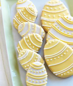 Cheerfully pretty white and soft lemon yellow Easter Egg Sugar Cookies.