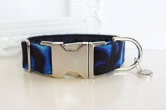 Black Blue Flames Dog Collar With Black Color by TwistedPetDesigns, $23.00