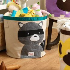 Organization can be part of the decoration too. Love this raccoon bin!