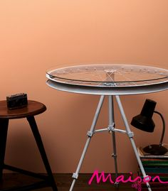 tripod +bicycle wheel = side table  upcycle?