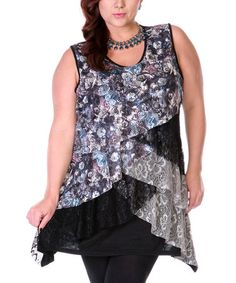0d39cf612c4 Aster Black   Blue Abstract Lace Sleeveless Tunic - Plus. Zulily Plus Size Floral ...