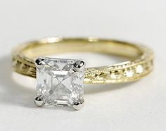Hand Engraved Solitaire Engagement Ring in 18k Yellow Gold Love the unique look of an asscher cut diamond