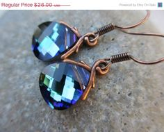 SALE Blue Green Crystal Earrings Swarovski by irisjewelrydesign, $22.10