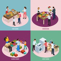 Buy Sharing Economy Design Concept by macrovector on GraphicRiver. Sharing economy isometric design concept with compositions of people sharing food books and household appliances .