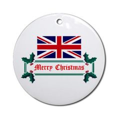 British Christmas Ornament Union jack Round Ornament by CafePress. Exclusive British Merry Christmas gift design by Love Letters International Union jack Round Ornament Instantly accessorize bare wall-space with our Round Ornament. Makes great room or office accessories, fun favors for birthday parties, wedding or baby shower Ornaments, or adding a unique, special touch to gift-wrapped packages. Comes with its own festiv. Price: $12.50