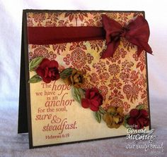 """Burgundy & Cream Vintage """"Hope"""" Card...with ribbon & roses...Connie McCotter: Our Daily bread.  Picture only for inspiration."""