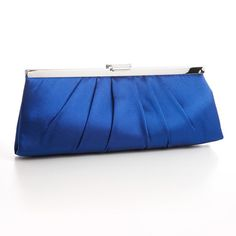 Sleek Pleated Satin Evening Bag - Royal