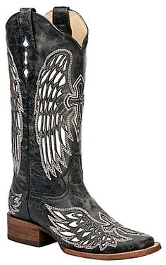 Corral® Ladies Distressed Black w/Winged Cross White Inlay Square Toe Western Boot | Cavender's Boot City
